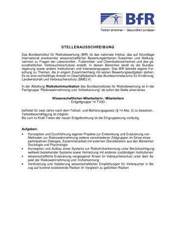 Wissenschaftliche Mitarbeiterin/Wissenschaftlicher Mitarbeiter in der ...