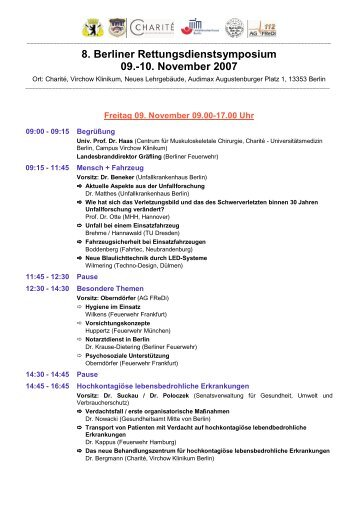 8. Berliner Rettungsdienstsymposium 09.-10. November 2007