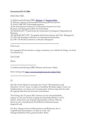 Sammelmail 01/11/2006 Inhalt dieser Mail: (1 ...
