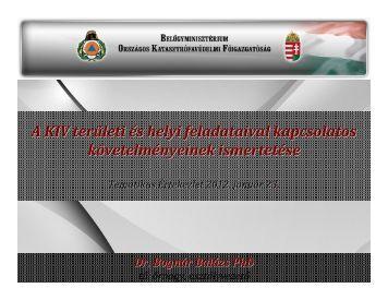 A KIV területi és helyi feladataival kapcsolatos követelményeinek ...