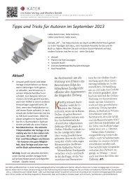Autorennewsletter September 2013 - Iris Kater Verlag & Medien GmbH