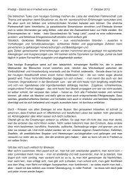 Predigt 07.10.2012, 27. So. im Jahreskreis, Pfr. Stephan Guggenbühl