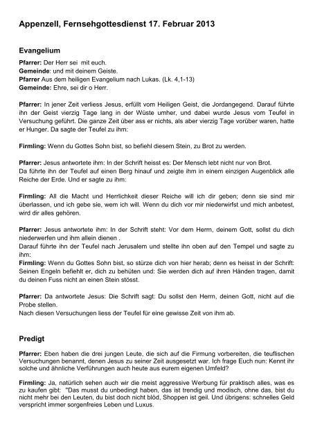 Predigt 17.02.2013, Fernseh-Gottesdienst, Pfr. St. Guggenbühl