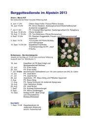 Berggottesdienste im Alpstein 2013