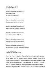 Predigt 1.11.11, Allerheiligen, Pfr. Stephan Guggenbühl