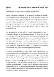 Predigt 6. Oktober 2013, Fernseh-Gottesdienst, Pfr. St. Guggenbühl