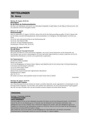 Forum 16, 18. August - 1. September 2012 - Kath-FrauenfeldPLUS
