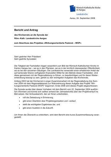 Bericht und Antrag - Römisch-Katholische Kirche im Kanton Aargau