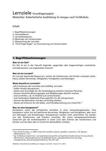 Grundlagenpapier Lernziele - Römisch-Katholische Kirche im ...