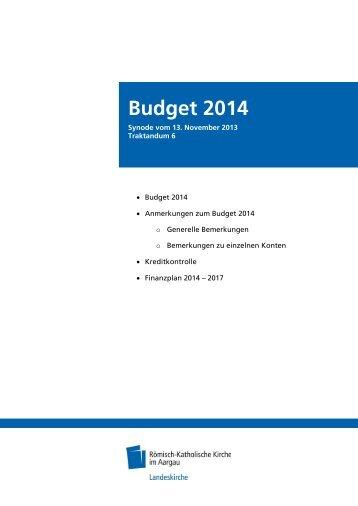 Budget 2014 - Römisch-Katholische Kirche im Kanton Aargau