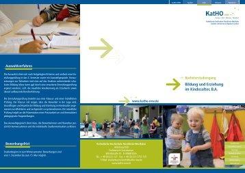 Bildung und Erziehung im Kindesalter, BA - Katholische Hochschule ...