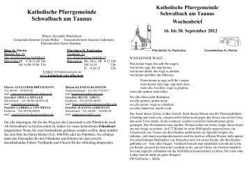 gottesdienste - Katholische Pfarrgemeinde Schwalbach am Taunus