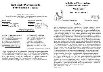 Wochenbrief - Katholische Pfarrgemeinde Schwalbach am Taunus