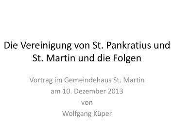 Die Vereinigung von St. Pankratius und St. Martin und die Folgen