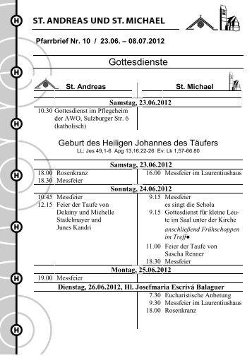 Pfarrbrief Nr. 10 / 2012 - Stadtdekanat