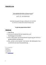 Die katholische Kirche und die Frauen - Katholische Kirche Kassel