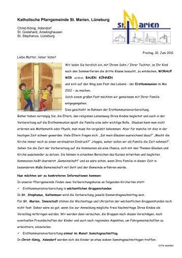 zur vorbereitung auf die erstkommunion 2012 - kath, Einladung