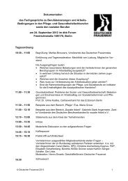 Dokumentation des Fachgespräches - Deutscher Frauenrat