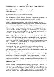 Fastenpredigt 07.03.2013 - Katholischer Pflegeverband eV