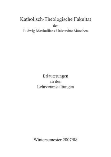 Kommentiertes Vorlesungsverzeichnis Wintersemester 2007/08