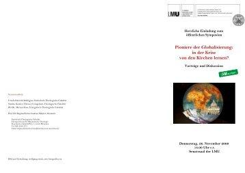 Pioniere der Globalisierung - Katholisch-Theologische Fakultät - LMU