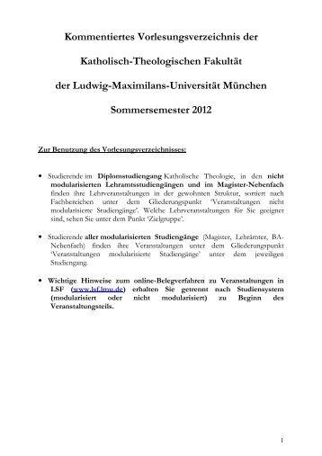 Kommentiertes Vorlesungsverzeichnis Sommersemester 2012