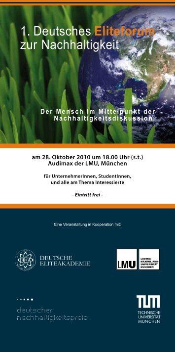 1. Deutsches Eliteforum zur Nachhaltigkeit - Katholisch ...