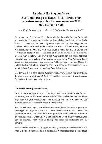 Laudatio für Stephan Wirz - Katholisch-Theologische Fakultät - LMU