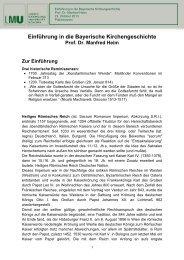 Einführung in die Bayerische Kirchengeschichte