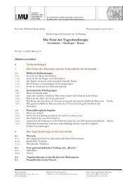Gliederung und Literatur zur Vorlesung: Die Feier der Tagzeitenliturgie