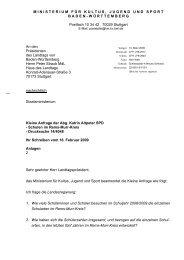 Kleine Anfrage der Abg. Katrin Altpeter SPD