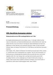 Pressemitteilung SPD: Berufliche Gymnasien stärken - Katrin Altpeter