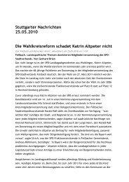 PM Stgter Nachrichten Wahlkreisreform schadet ... - Katrin Altpeter