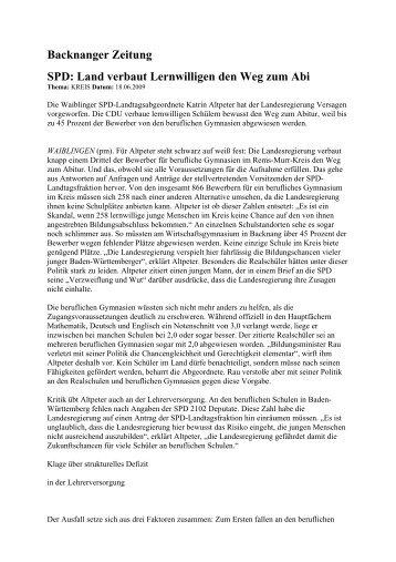 Backnanger Zeitung SPD: Land verbaut ... - Katrin Altpeter