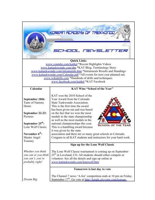 September - Korean Academy of Taekwondo Online