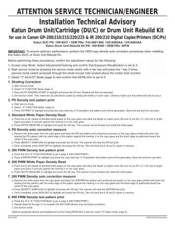 Installation Technical Advisory - Katun