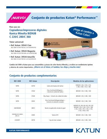 Conjunto de productos Katun® Performance™ ¡NUEVO!