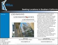 Seeking Locations in Southern California - Katz & Associates, Corp.