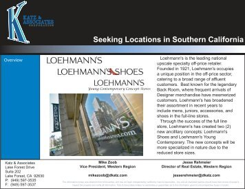 Seeking Locations in Southern California - Katz & Associates, Corp.