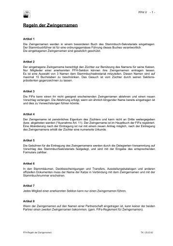 Regeln der Zwingernamen - FFH