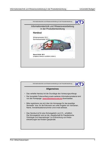 Handout WS 2011/SS2012 - von Alfred Katzenbach