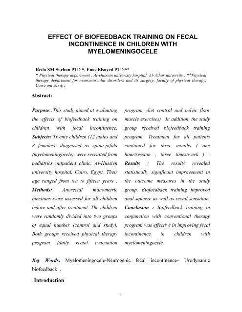 Effect Of Biofeedback Training On Fecal Incontinence In Children