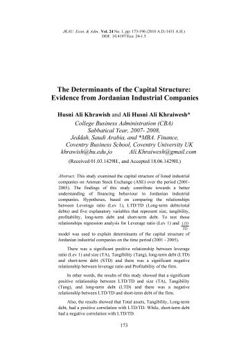 The Determinants of the Capital Structure: Evidence from Jordanian ...