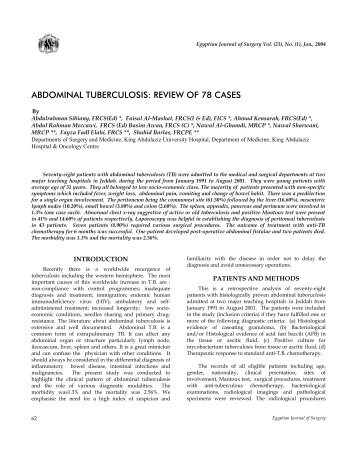 ABDOMINAL TUBERCULOSIS: REVIEW OF 78 CASES