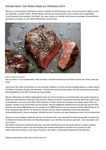 Schulte+Sohn: Das Weber-Steak zur Grillsaison 2014