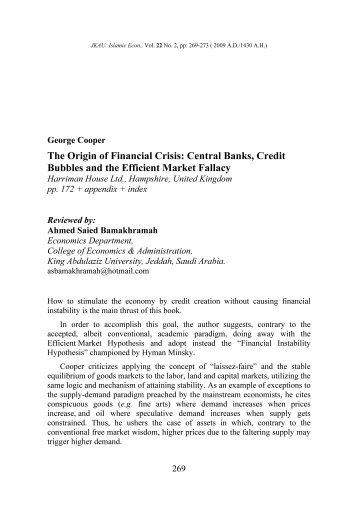 The Origin of Financial Crisis: Central Banks, Credit Bubbles and the ...
