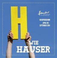 Hauser Kochlust Kochprogramm April bis September 2014