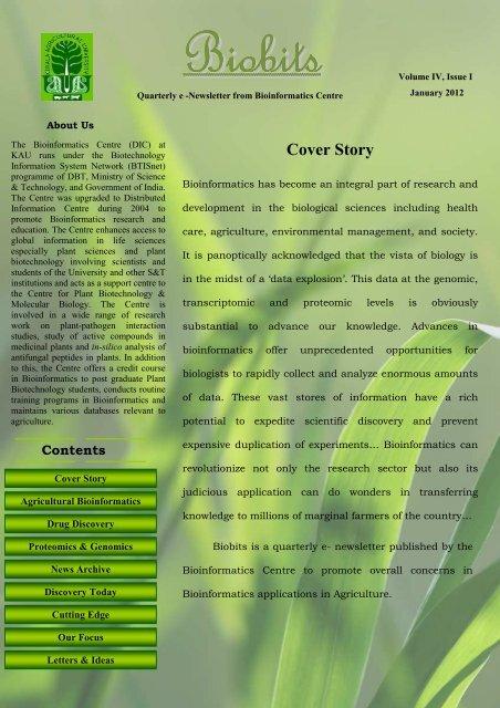 January 2012, Volume IV, Issue I - Bioinformatics Centre, Kerala ...