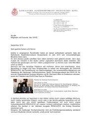 An alle Mitglieder und Freunde des KAVD September 2010 Sehr ...