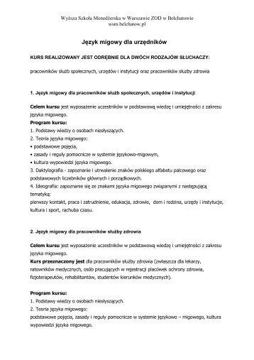 Język migowy dla urzędników - Wyższa Szkoła Menedżerska w ...